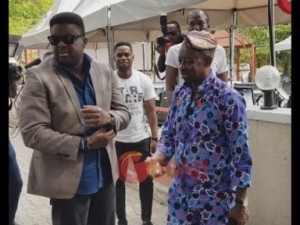 Video: Tunde Afolayan Arrives Like A King And Hugs Legendary Tunde Kilani At His 70th Birthday Celebration